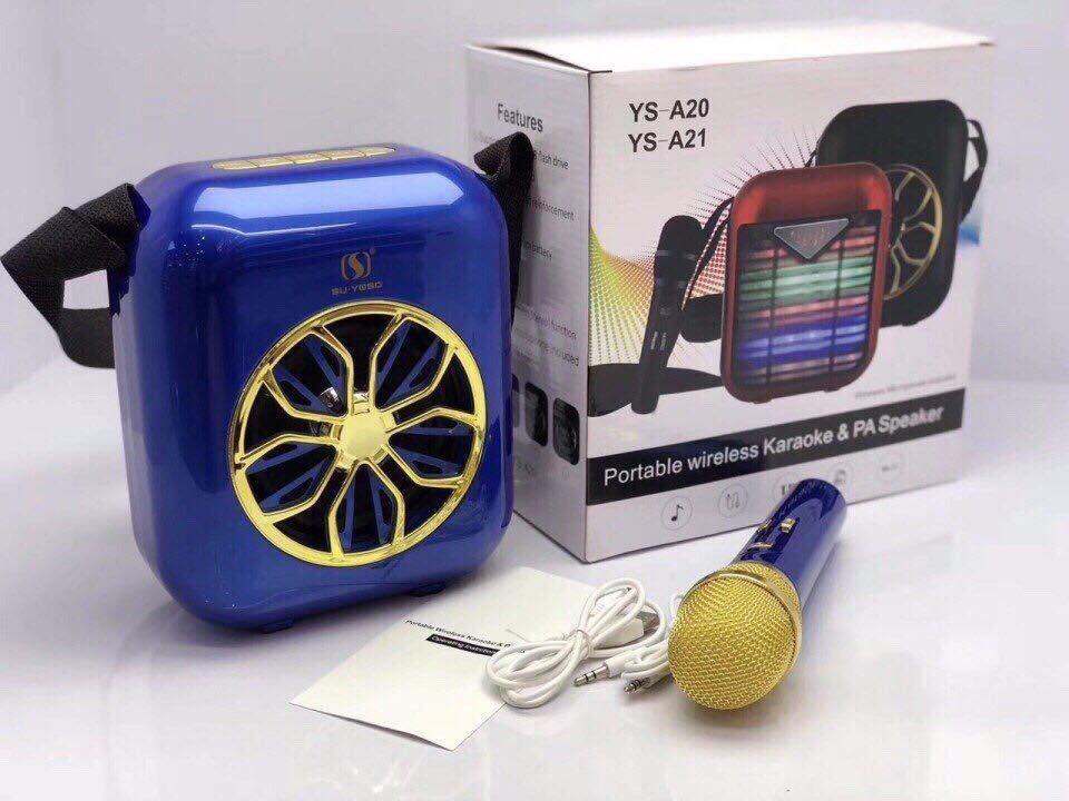 Открытый беспроводной портативный караоке динамик с микрофоном YS-A20 СИНИЙ