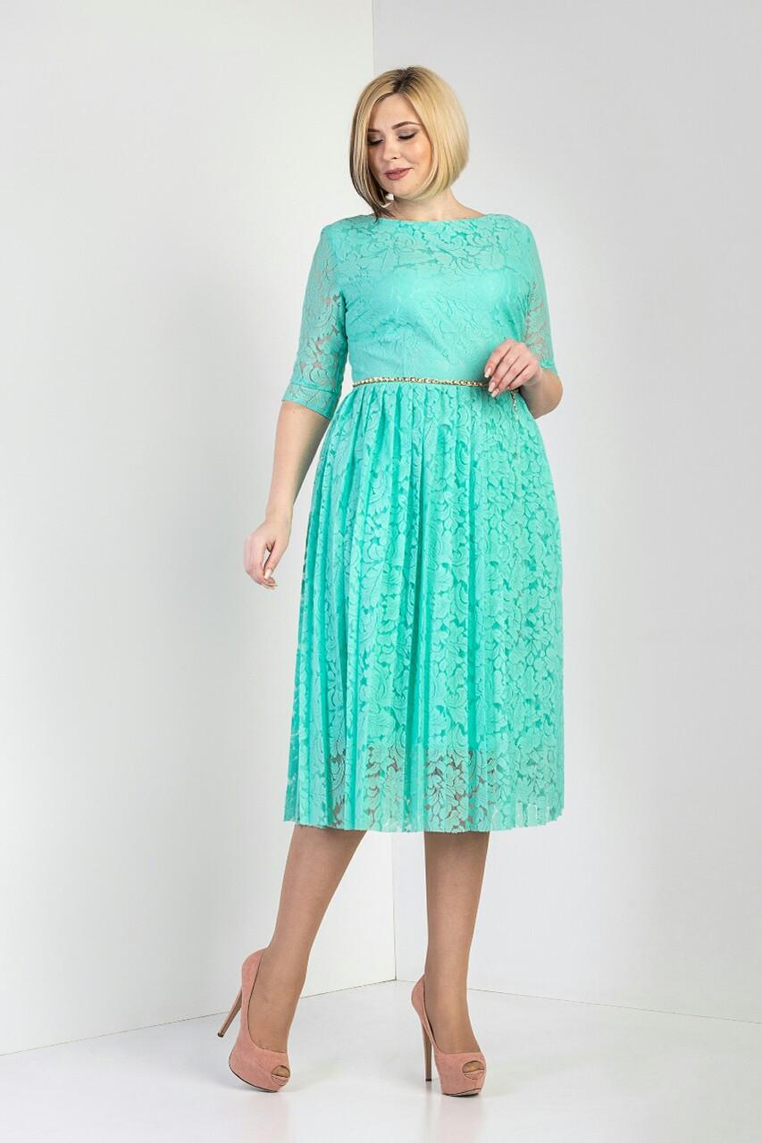 """Платье женское """"Бритни"""" из гипюра бирюзового цвета (М391-01)"""