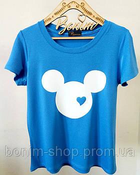 Женская голубая футболка с принтом Микки Маус