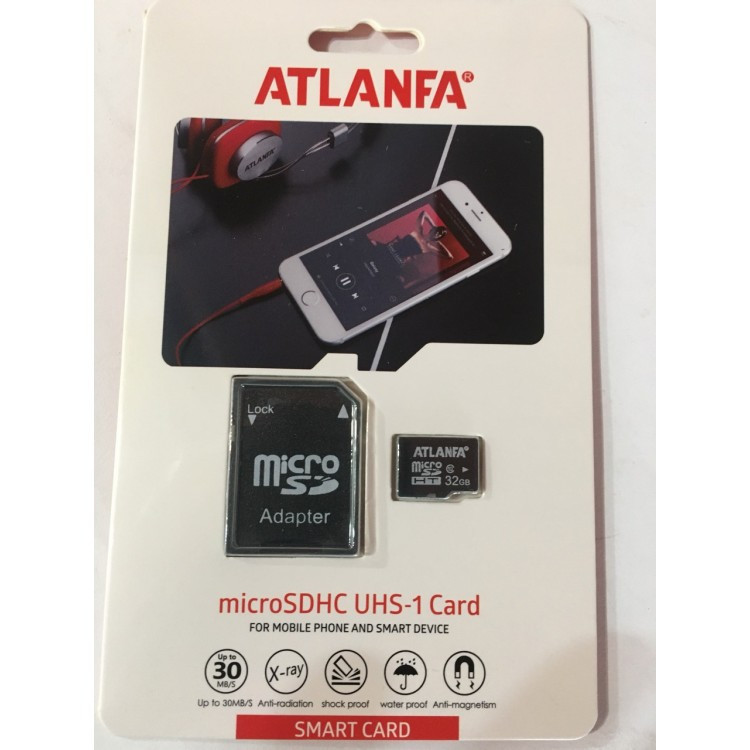 Карта пам'яті 32Gb microSDHC class 10 ATLANFA + адаптер