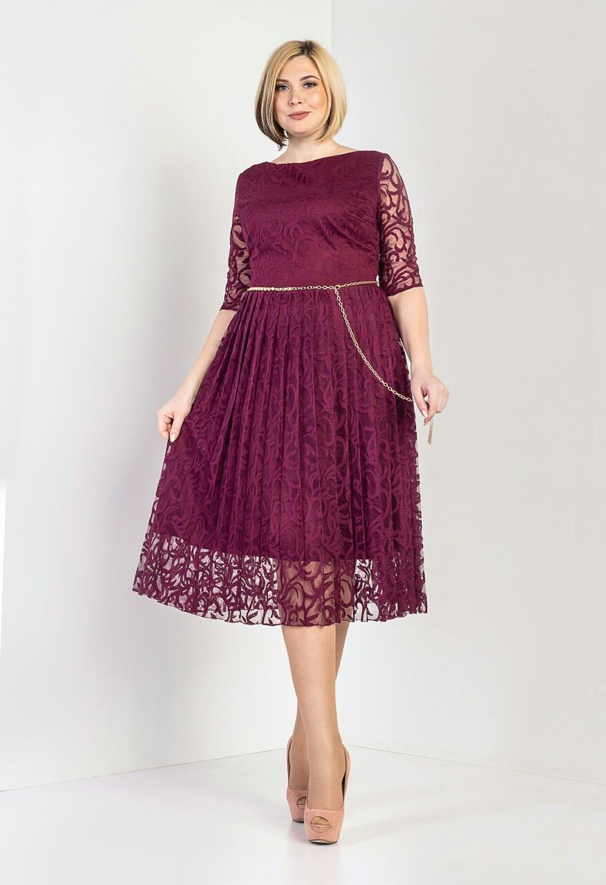 """Платье женское """"Бритни"""" бордового цвета (М391-02)"""