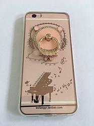 Чехол для iphone 6/6S силиконовый прозрачный с колечком, с мишкой и с роялем COV-066