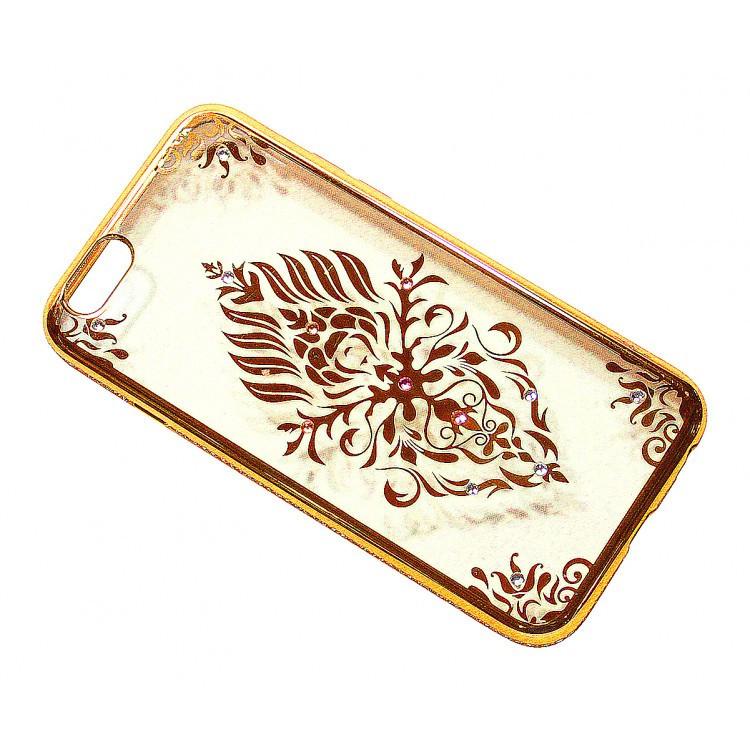 Чехол на iPhone 6/6s силиконовый прозрачный, с цветком в камушках, с бампером под металл в камушках COV-045