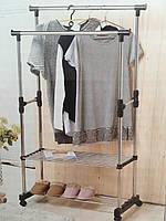 Телескопическая стойка-вешалка для одежды и обуви-Double Pole Clothes,двойная вешалка, с двумя полками,8210-1