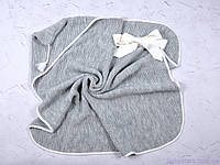 Плед конверт на выписку вязанный с кисточкой, серый