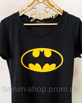 Женская черная футболка Batman