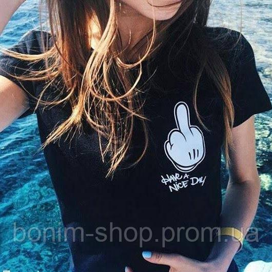 Черная женская футболка с принтом Have a nice day