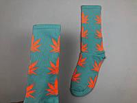 Носки HUF Plantilife - высокие - бледно-бирюзовые оранжевый лист