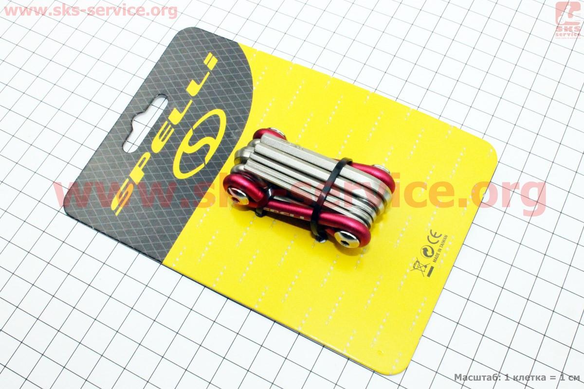 Велосипедный ключ-набор 8предметов (шестигранники 2,2.5,3,4,5,6мм, отвёртки прямая и фигурная) SBT-51S