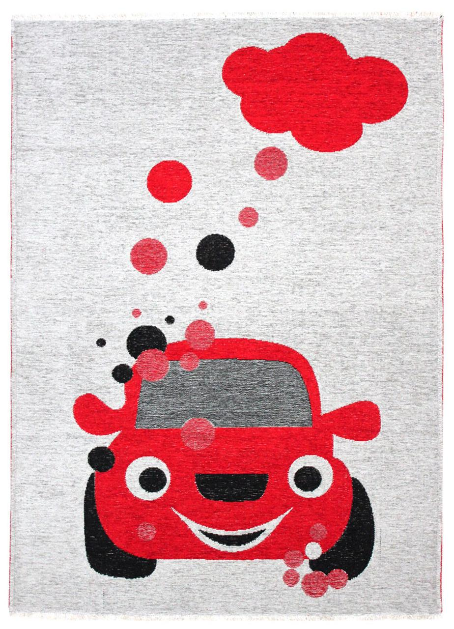 Ковер детский My Home Moretti Side двусторонний красный Автомобиль