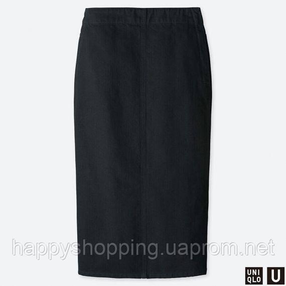 Женская черная джинсовая миди юбка Uniqlo