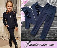 Стильный школьный костюм 2-ка для девочки (жакет и брюки)140, 146р