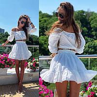 Костюм летний прошва пышная короткая юбка и топ, белый