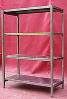 Торговые стеллажи с нержавеющей стали на 4 полки 1300х600х1800 см., (Украина), Б/у, фото 1