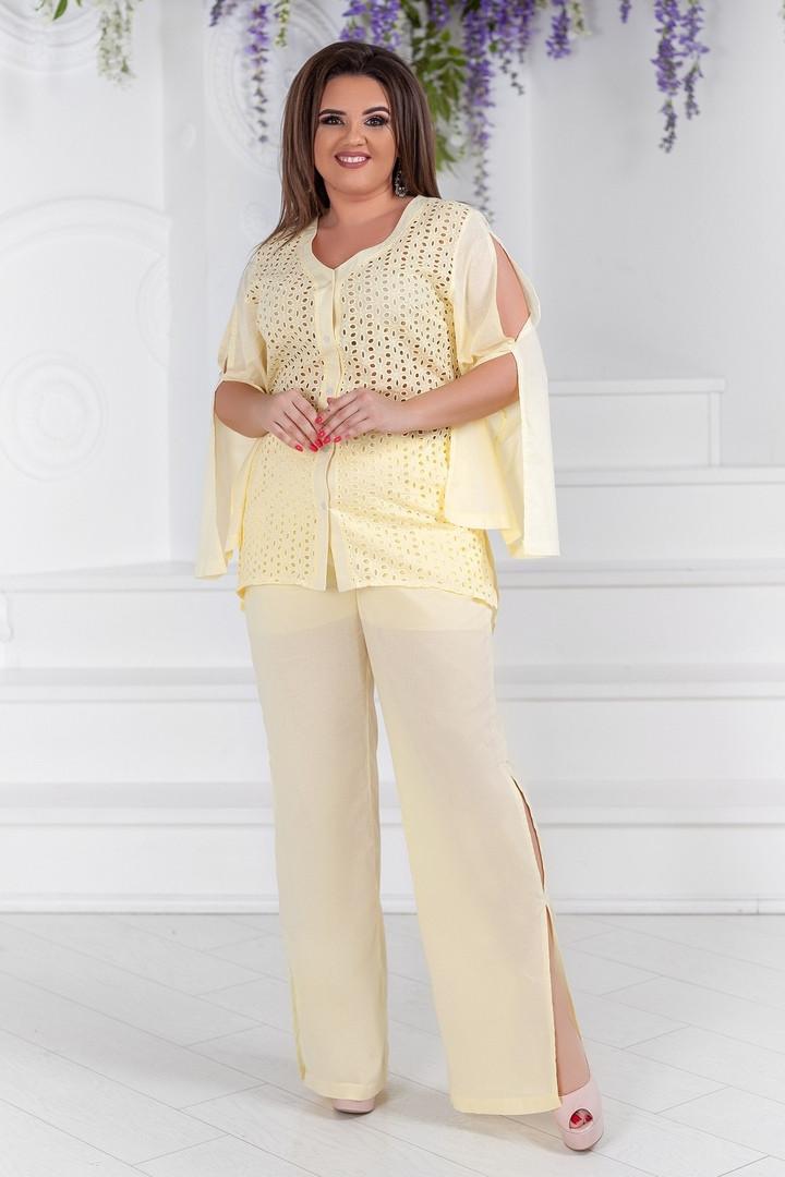 Брючный летний женский костюм с туникой, 50-56