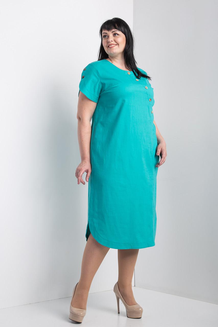 """Платье женское """"Сальма"""" бирюзового цвета (М387-02)"""