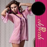 Нежный сексуальный халат с пеньюаром розовый №152