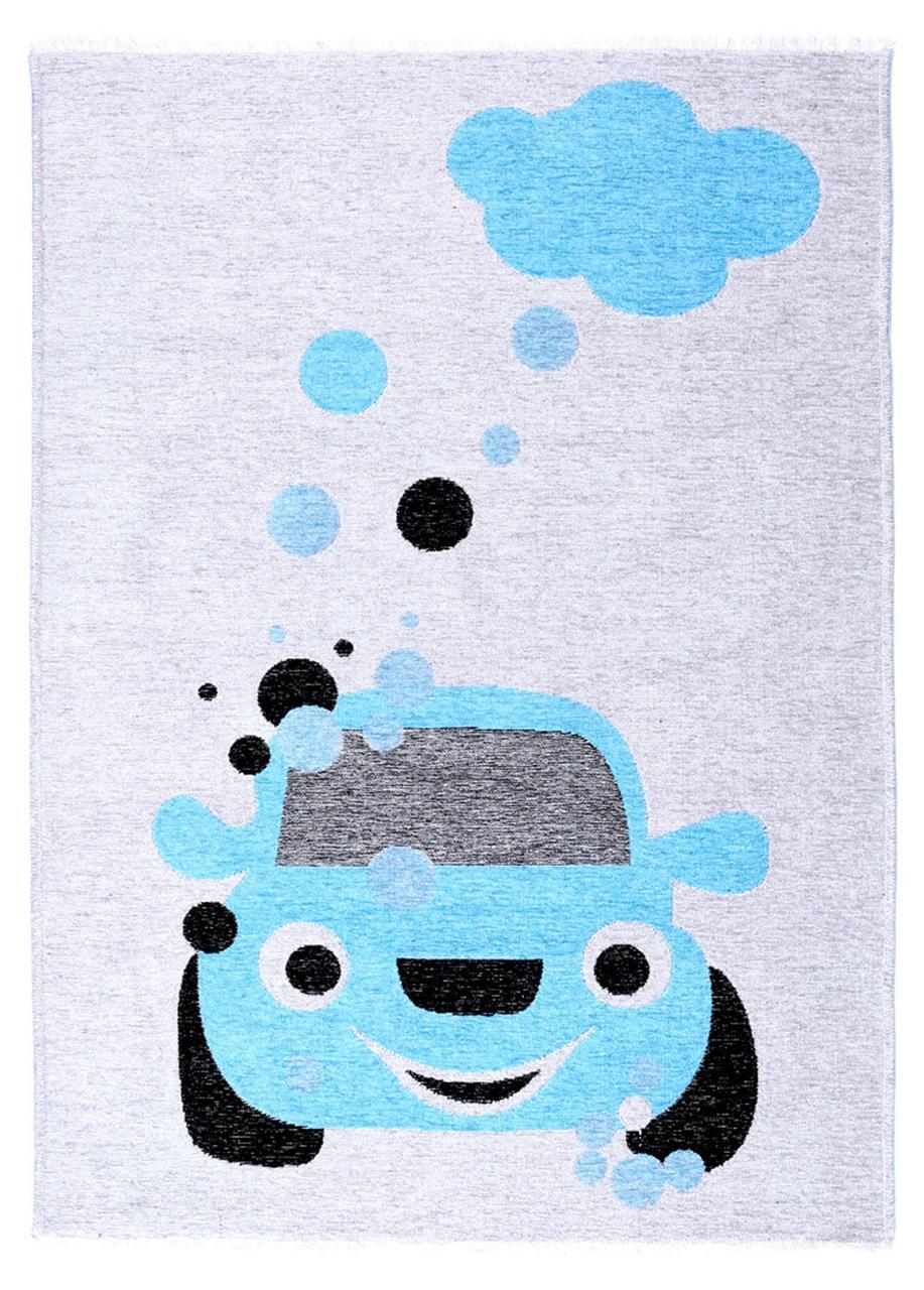 Ковер детский My Home Moretti Side двусторонний синий Автомобиль