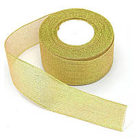 Лента парча 5 см золото 23 метра