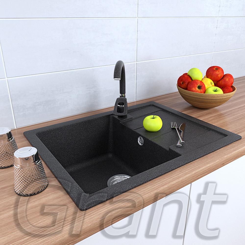 Кухонная мойка врезная 650х500 с крылом ТМ Grant графит