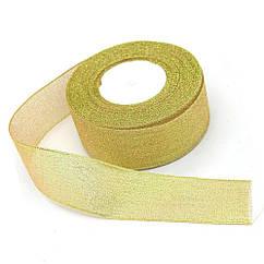 Лента парча 2,5 см золото