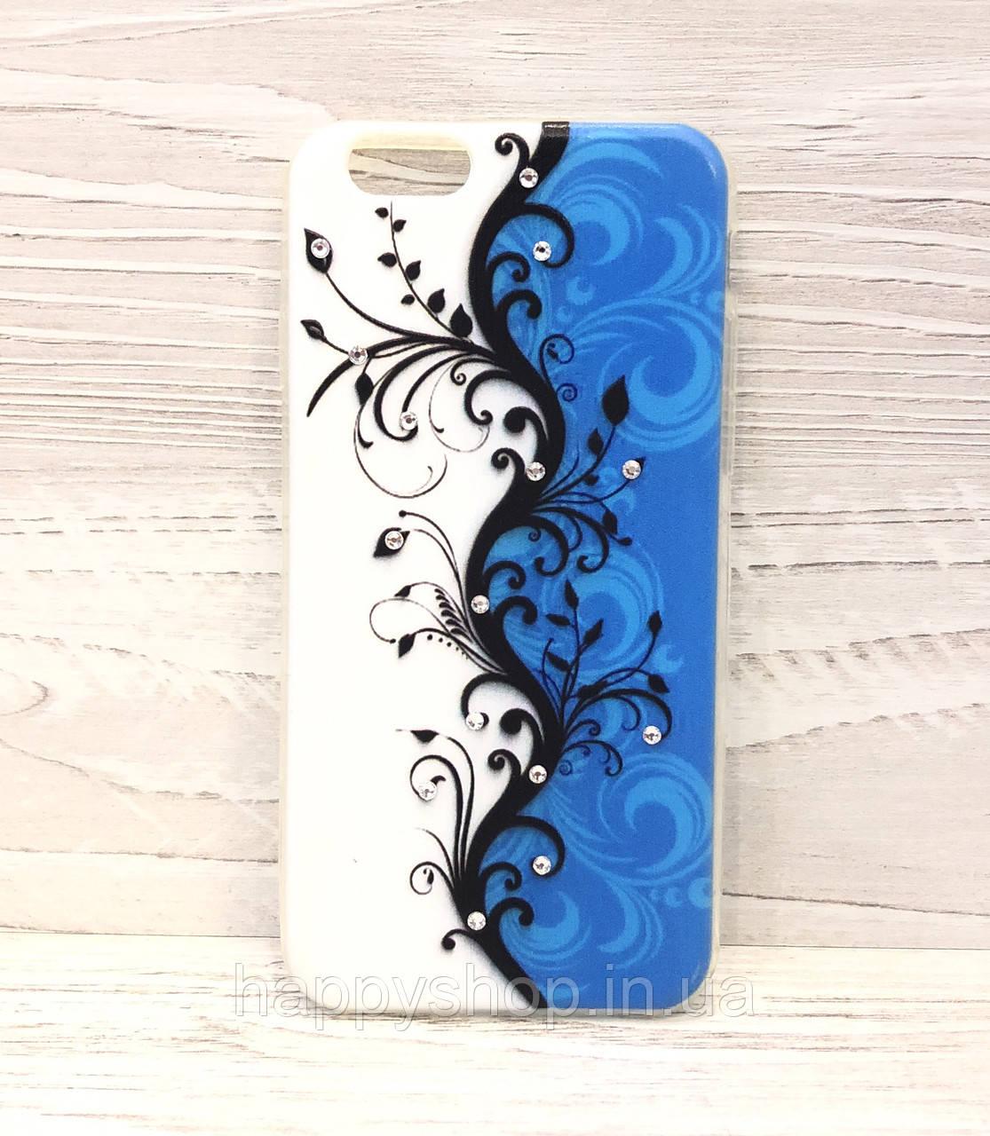 Силиконовый чехол-накладка для iPhone 6/6S (Blue Rose)
