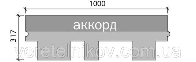 Форма нарезки – Аккорд (размер одного элемента 1000х317 мм)