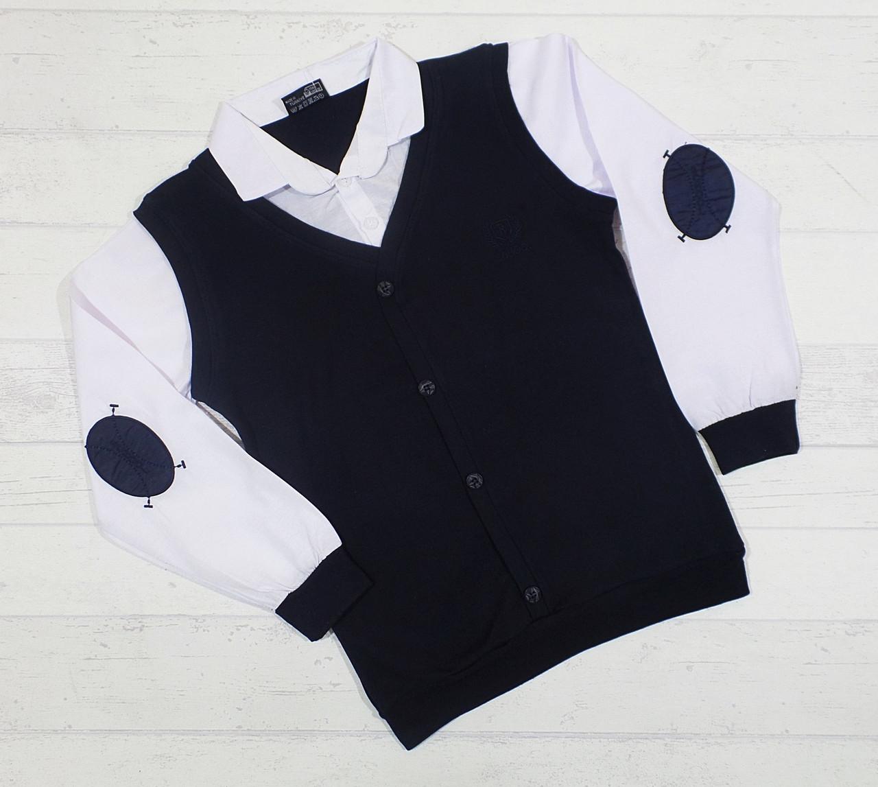 Рубашка-обманка школьная для мальчика 6,8,10,12,14 лет