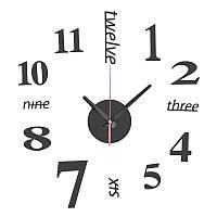 Часы настенные 3-d черные большая семь