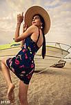Приталенное короткое платье из денима синее, фото 4