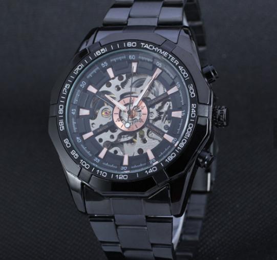 Мужские механические часы Winner Skeleton автоподзаводом черные