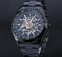 Мужские механические часы Winner Skeleton автоподзаводом черные, фото 1