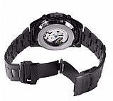 Мужские механические часы Winner Skeleton автоподзаводом черные, фото 4