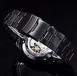 Мужские механические часы Winner Skeleton автоподзаводом черные, фото 5