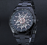 Мужские механические часы Winner Skeleton автоподзаводом черные, фото 6