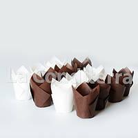 """Бумажные формочки для кексов """"Тюльпан"""", коричневые (d=50 мм, высота бортика=60/80 мм)"""