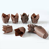 """Бумажные формочки для кексов """"Тюльпан"""", коричневые (150 шт., d=35 мм, высота бортика=35/50 мм), фото 6"""