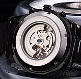 Мужские механические часы Winner Skeleton автоподзаводом черные, фото 7