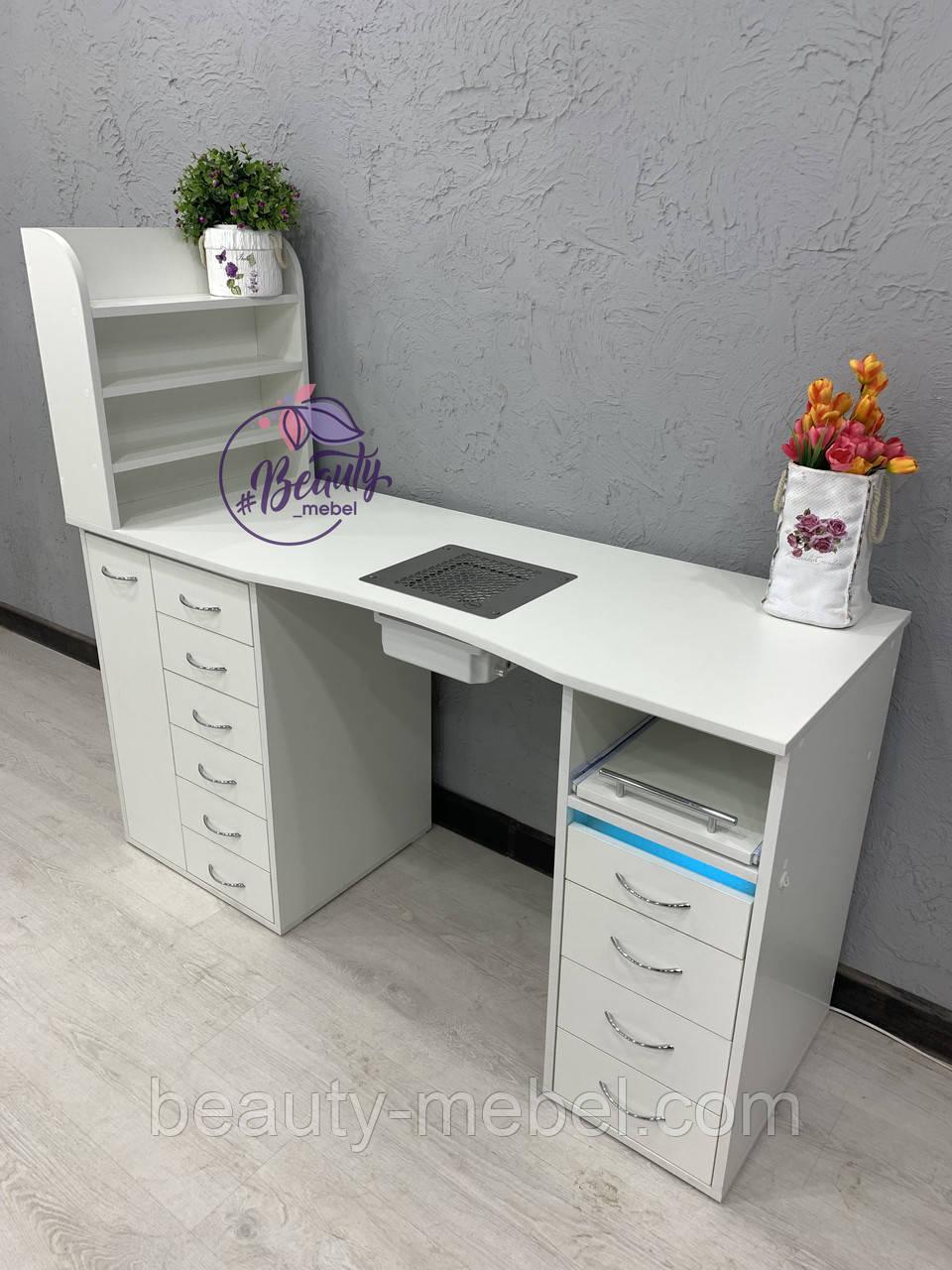 Стол для маникюра с вытяжкой, полочками для лаков и УФ-лампой