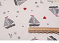 Сатин (хлопковая ткань) серые кораблики,звезды,сердца, фото 2