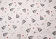 Сатин (хлопковая ткань) серые кораблики,звезды,сердца, фото 3