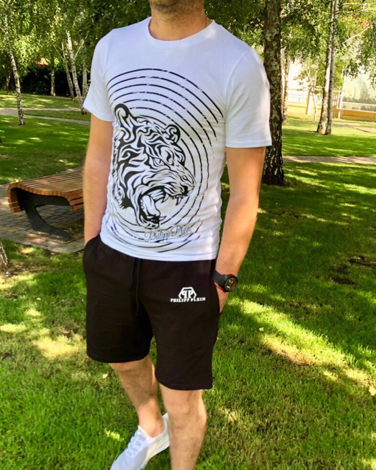 Костюм мужской из хлопка с шортами и футболкой с накатом (К28103)