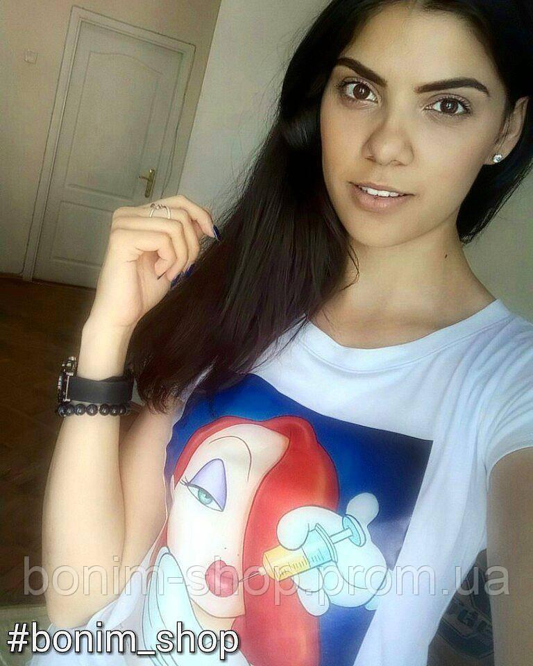 Женская белая футболка с принтом bad disney princess