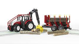 Іграшка Bruder Трактор Steyr CVT 6230 лісовий з маніпулятором і причепом з колодами 1:16 (03093)