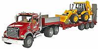 Игрушка Bruder  Тягач MACK с грузовой  платформой  и  экскаватором-погрузчиком JCB 4CX 1:16  (02813), фото 1