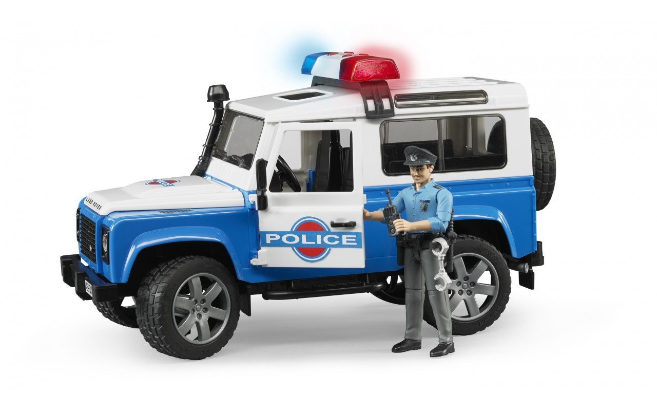 Іграшка Bruder позашляховик Land Rover з фігуркою поліцейського 1:16 (02595)