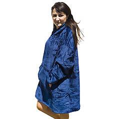 ✸Плед Huggle Hoodie Blue с рукавами толстовка-плед с флиса от холода с капюшоном