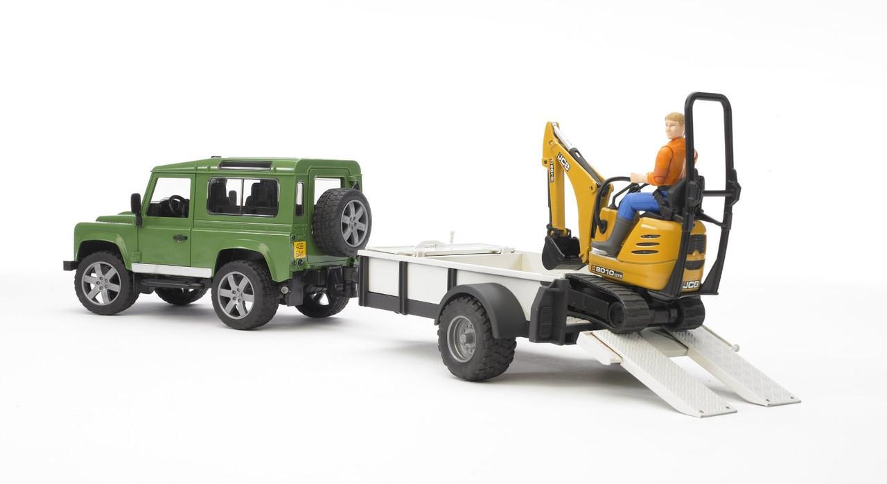Іграшка Bruder Позашляховик Land Rover Defender з причепом, екскаватором JCB і фігуркою робочого (02593)