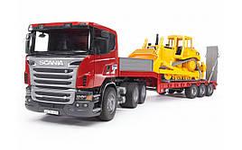 Іграшка Bruder Тягач Scania з вантажною платформою і гусеничним бульдозером CAT 1:16 (03555)