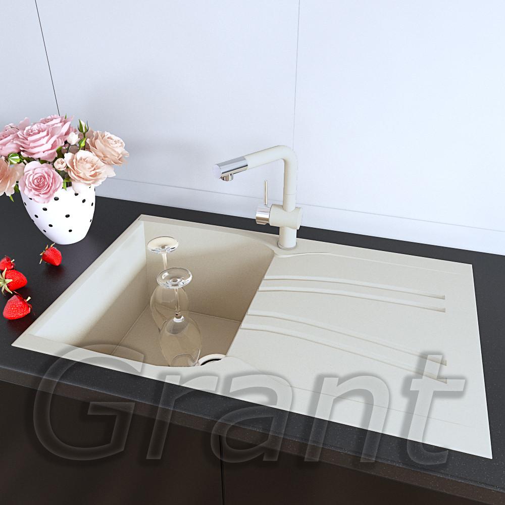 Кухонная гранитная врезная мойка 790х500 Grant Grain ivory с крылом